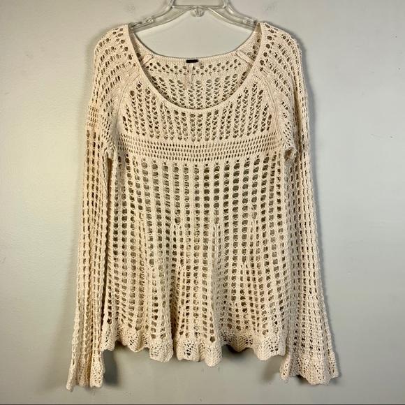 Free People Sweaters Crochet Open Knit Ivory Cream Top Poshmark